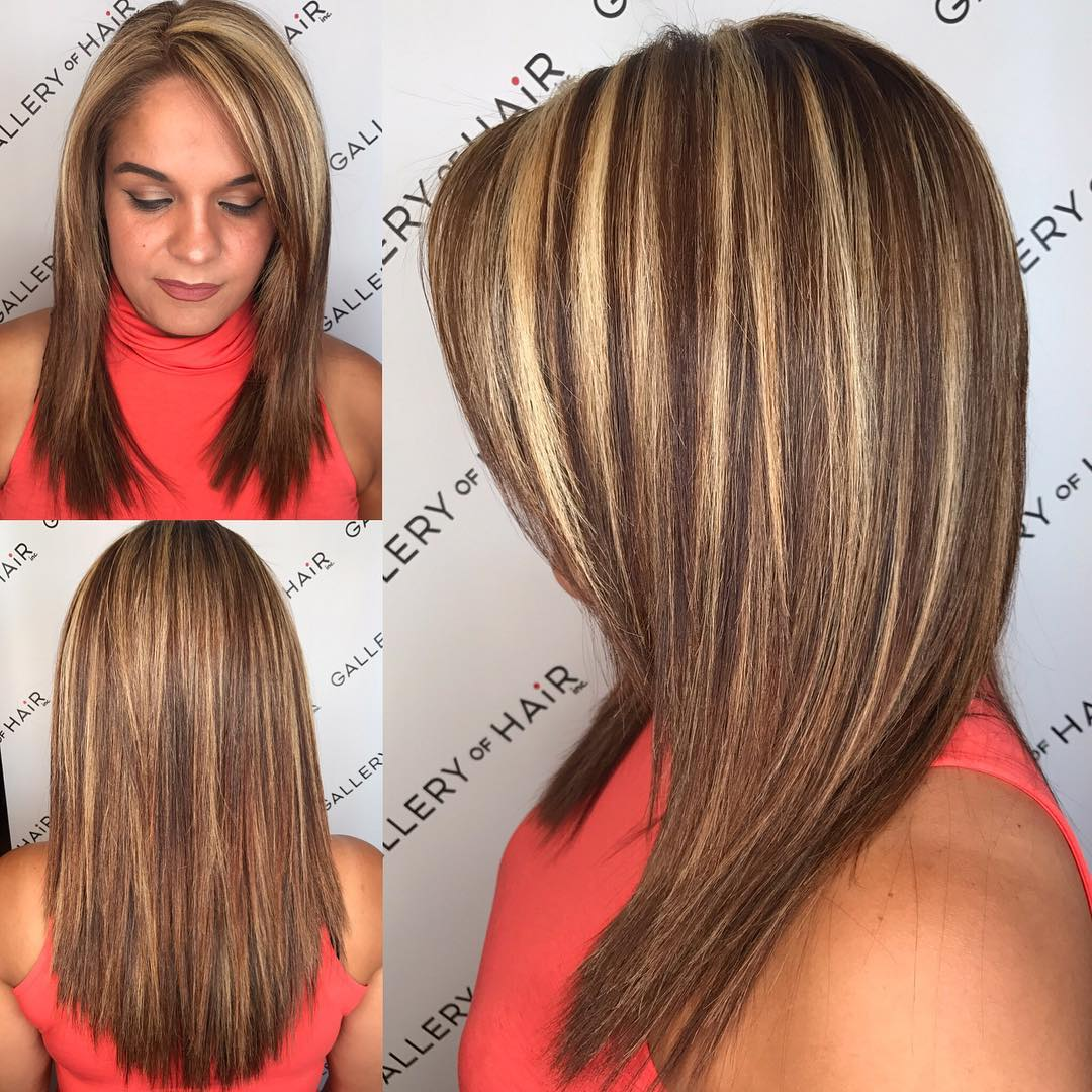 Layered Cut with Textured Ends-and Bold Chunky Highlights Medium Length Hairstyle