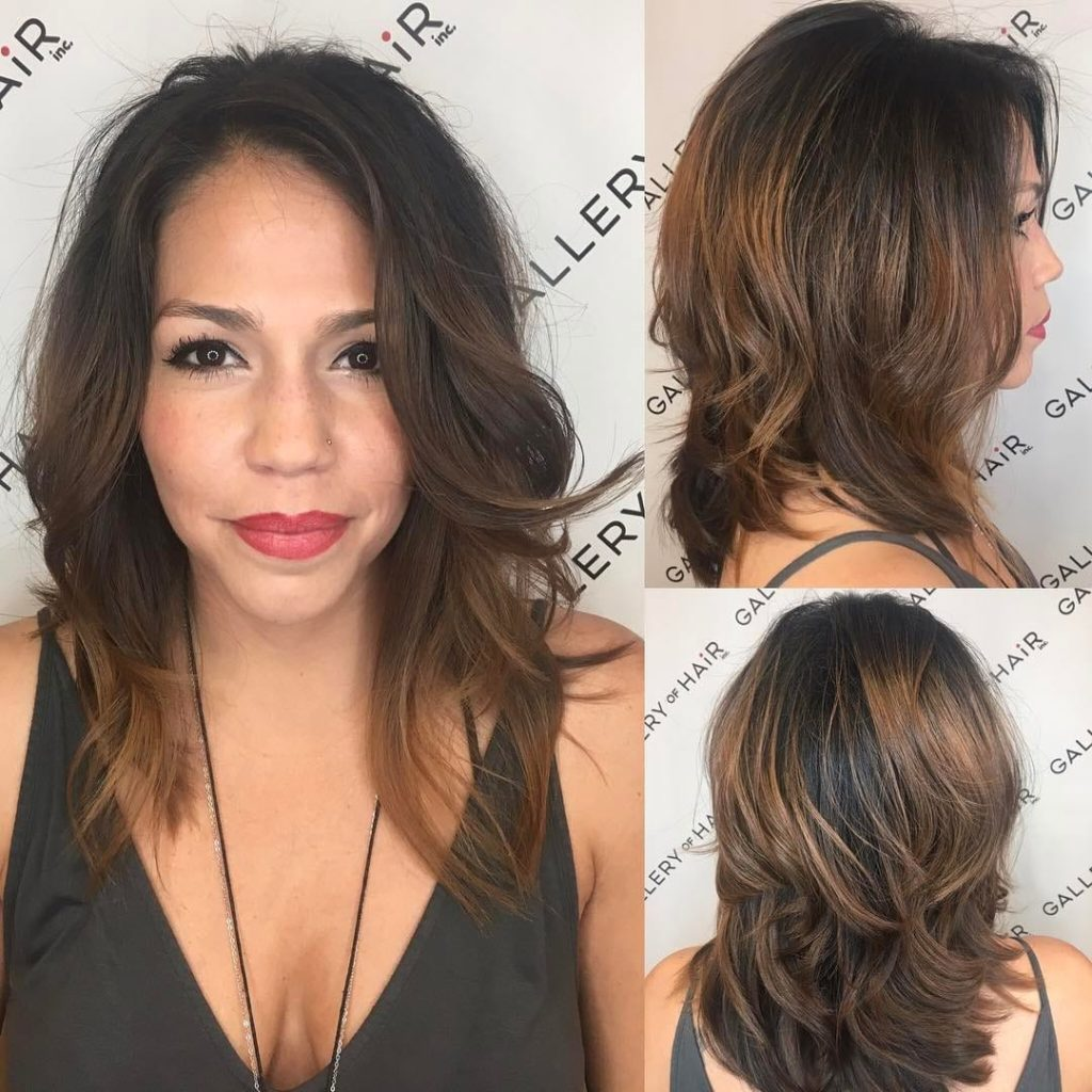Layered Cut with Voluminous Blowout and Brunette Balayage Medium Length Hairstyle
