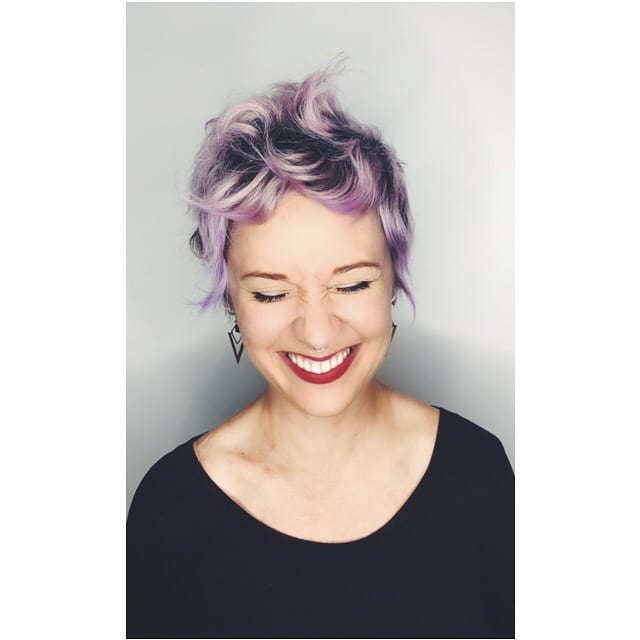 Layered Pixie with Wavy Wind Blown Beach Texture and Lilac Hair Color with Shadow Roots Short Summer Hairstyle