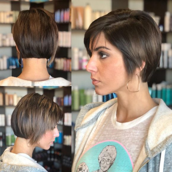Layered Razor Cut Pixie with Straight Texture and Side Swept Bangs on Brunette Hair Short Fall Hairstyle
