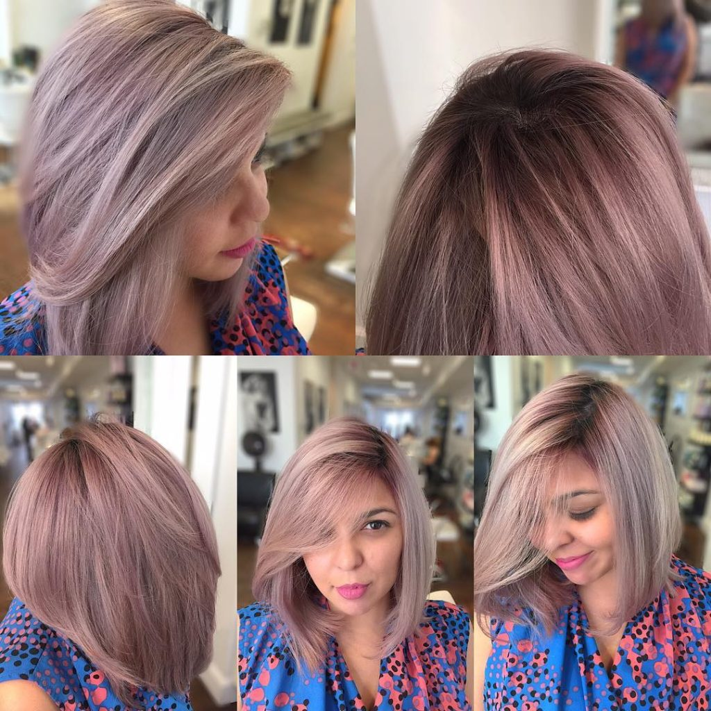 Long Angled Blowout Bob with Soft Pink Ash Color Medium Length Hairstyle