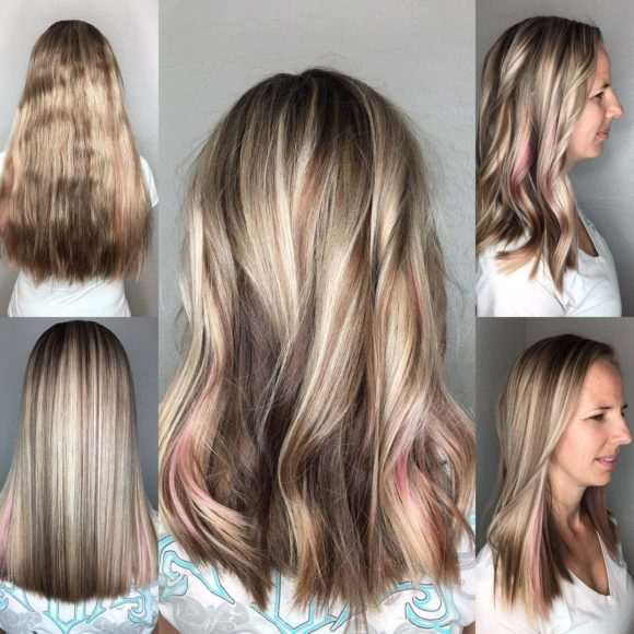 Long Blonde Cut with Textured Ends and Pink Peek-a-Boo Highlights Long Hairstyle