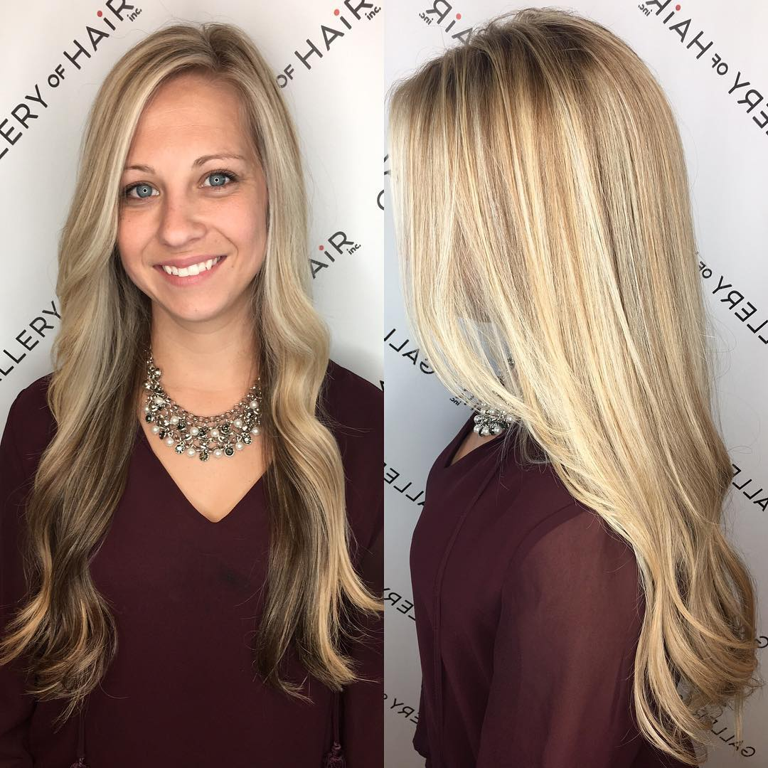 Long Blonde Highlighted Hair with Front Layers and Soft Waves Long Hairstyle