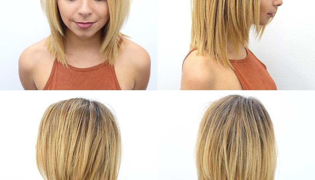 Long Blonde Textured Bob with Face Framing Layers Medium Length Hairstyle