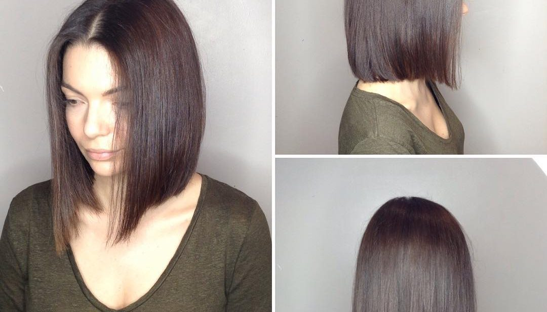 Long Blunt Bob with Center Part and Warm Brunette Color Medium Length Hairstyle