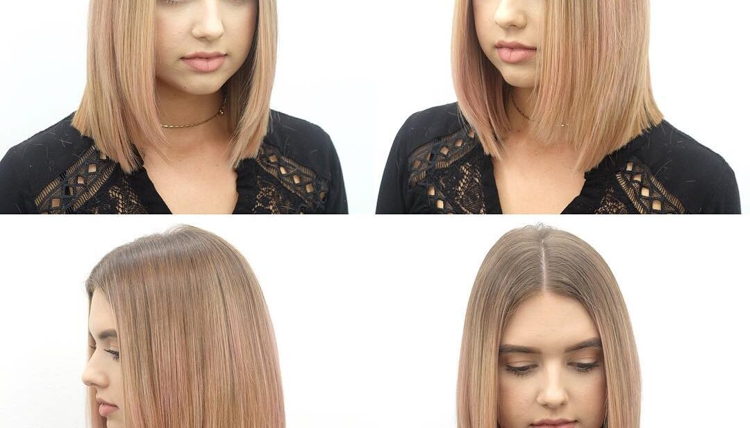 Long Blunt Bob with Front Layers and Blonde Ombre Color with Pink Tones Medium Length Hairstyle