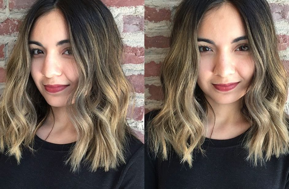 Long Blunt Bob with Textured Waves and Brunette Ombre Color Medium Length Hairstyle