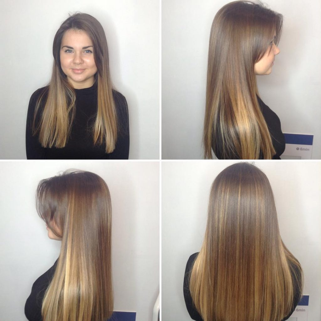 Long Blunt Cut with Long Parted Bangs and Bronde Balayage Long Hairstyle