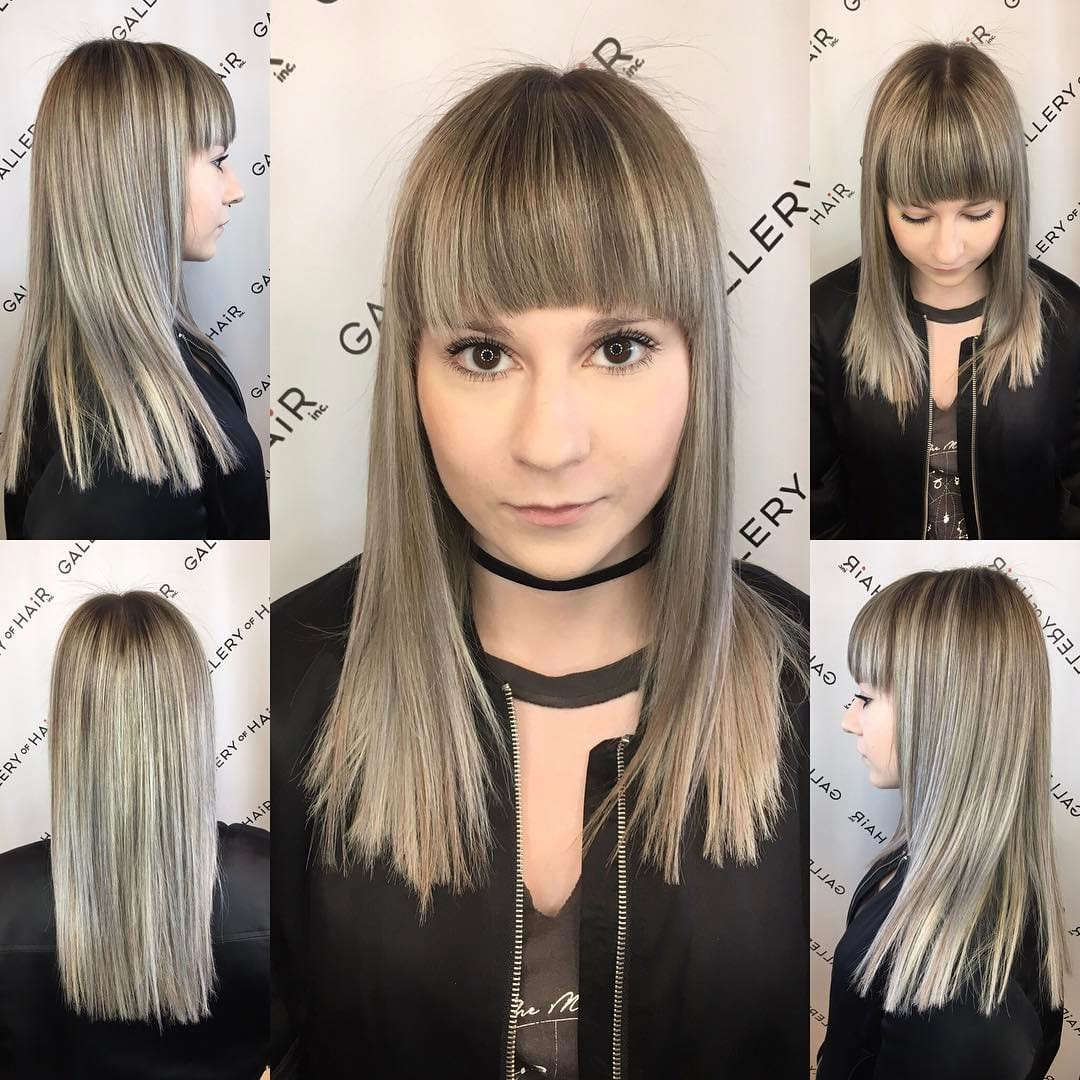 Long Blunt Cut with Textured Ends and Full Brow Skimming Bangs and Ash Blonde Balayage Long Hairstyle