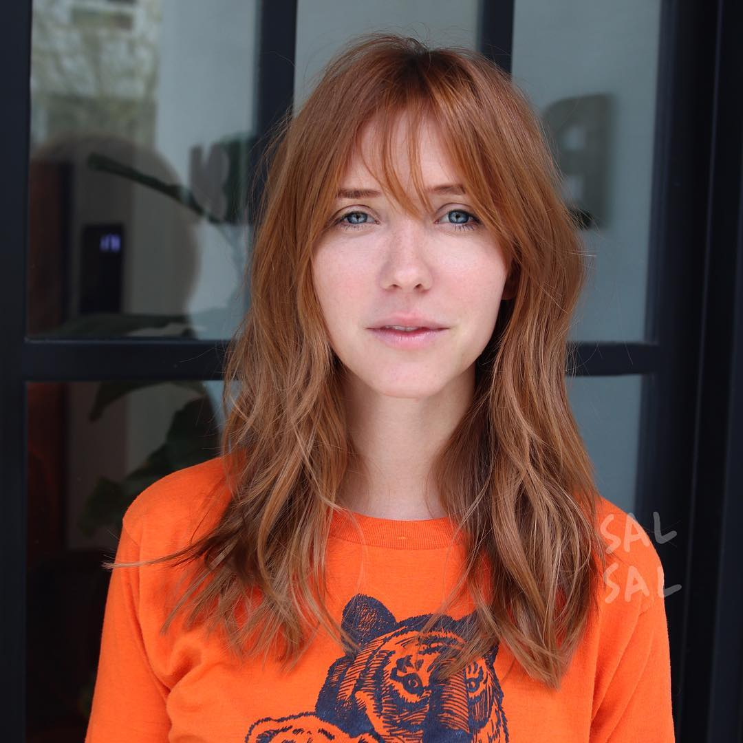 Long Copper Shag Cut with Fringe Bangs and Messy Beach Waves Long Hairstyle