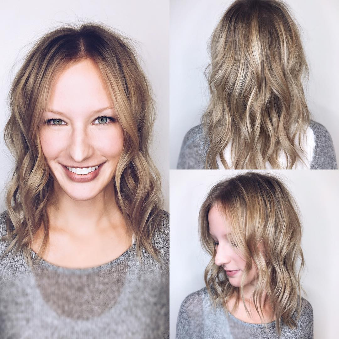 Long Face Framing Lob with Allover Messy Wavy Texture and Soft Blonde Balayage Medium Length Fall Hairstyle