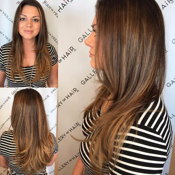 Long Layered Blowout with Soft Bronde Balayage Long Hairstyle