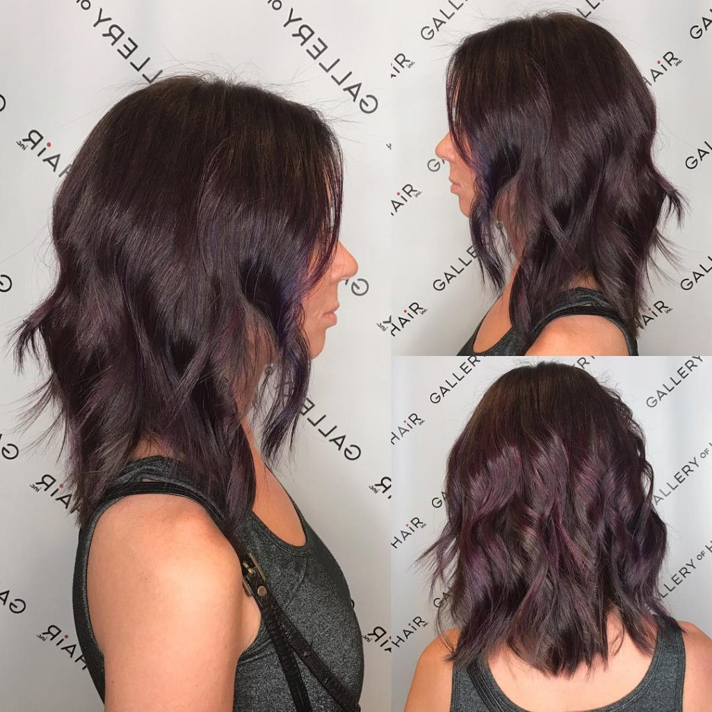 Long Wavy Layered Bob with Brunette Violet Balayage Medium Length Hairstyle