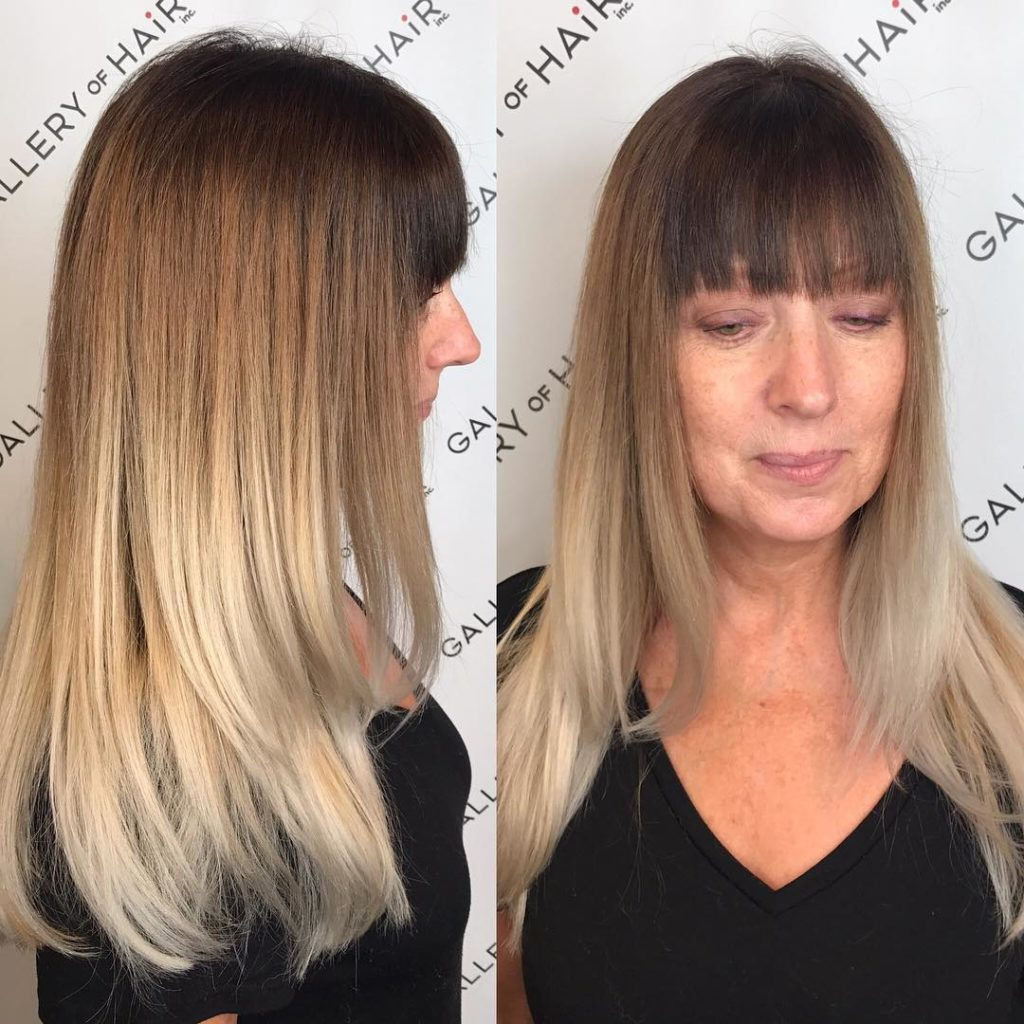 Long Layered Cut with Blunt Bangs and Multi-Tone Ombre Long Hairstyle
