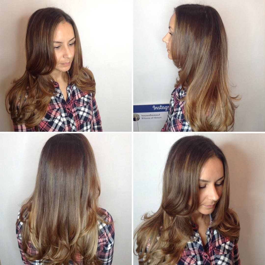 Long Layered Cut with Soft Blowout Waves and Subtle Bronde Balayage Long Hairstyle