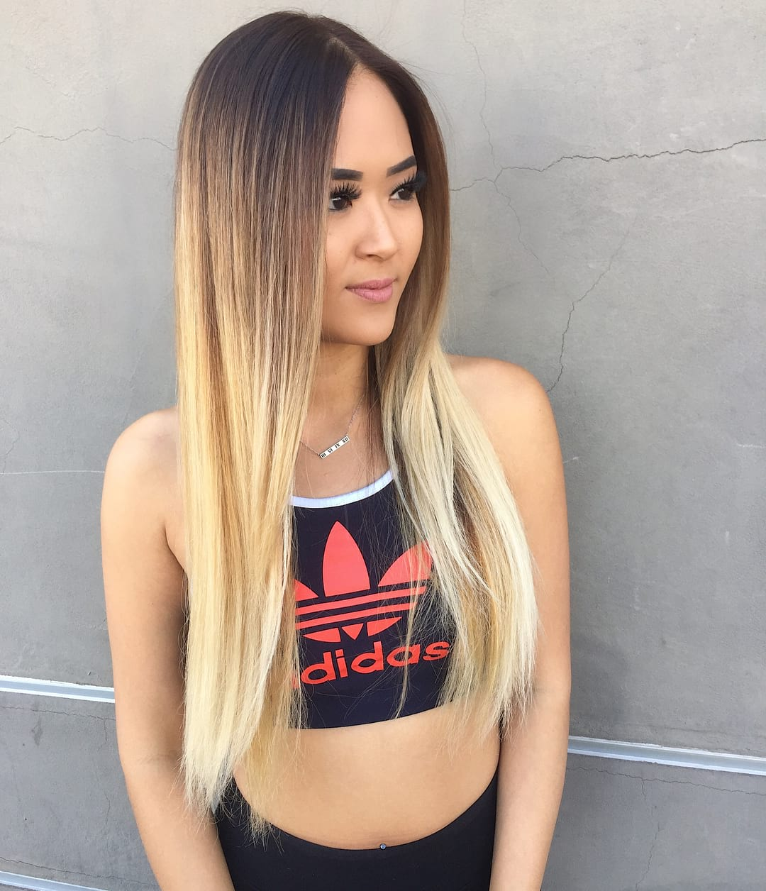 Long Layered Hair with Straight Texture and Brunette to Platinum Blonde Color Melt Ombre Long Summer Hairstyle