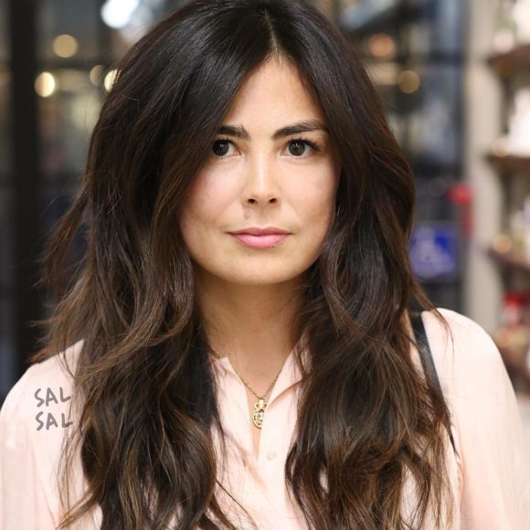 Long Parted Layered Cut with Voluminous Bohemian Waves and Brunette Balayage Long Hairstyle