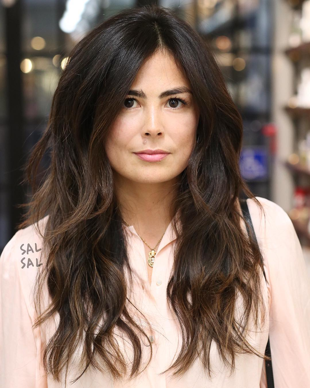 Long Parted Layered Cut with Voluminous Bohemian Waves and