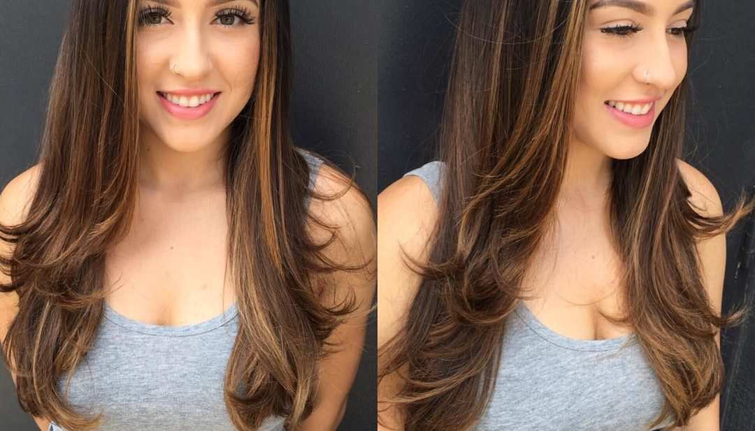 Long Razor Cut Layers on Brunette Hair with Subtle Ombre and Face Framing Highlights and Layers Long Hairstyle