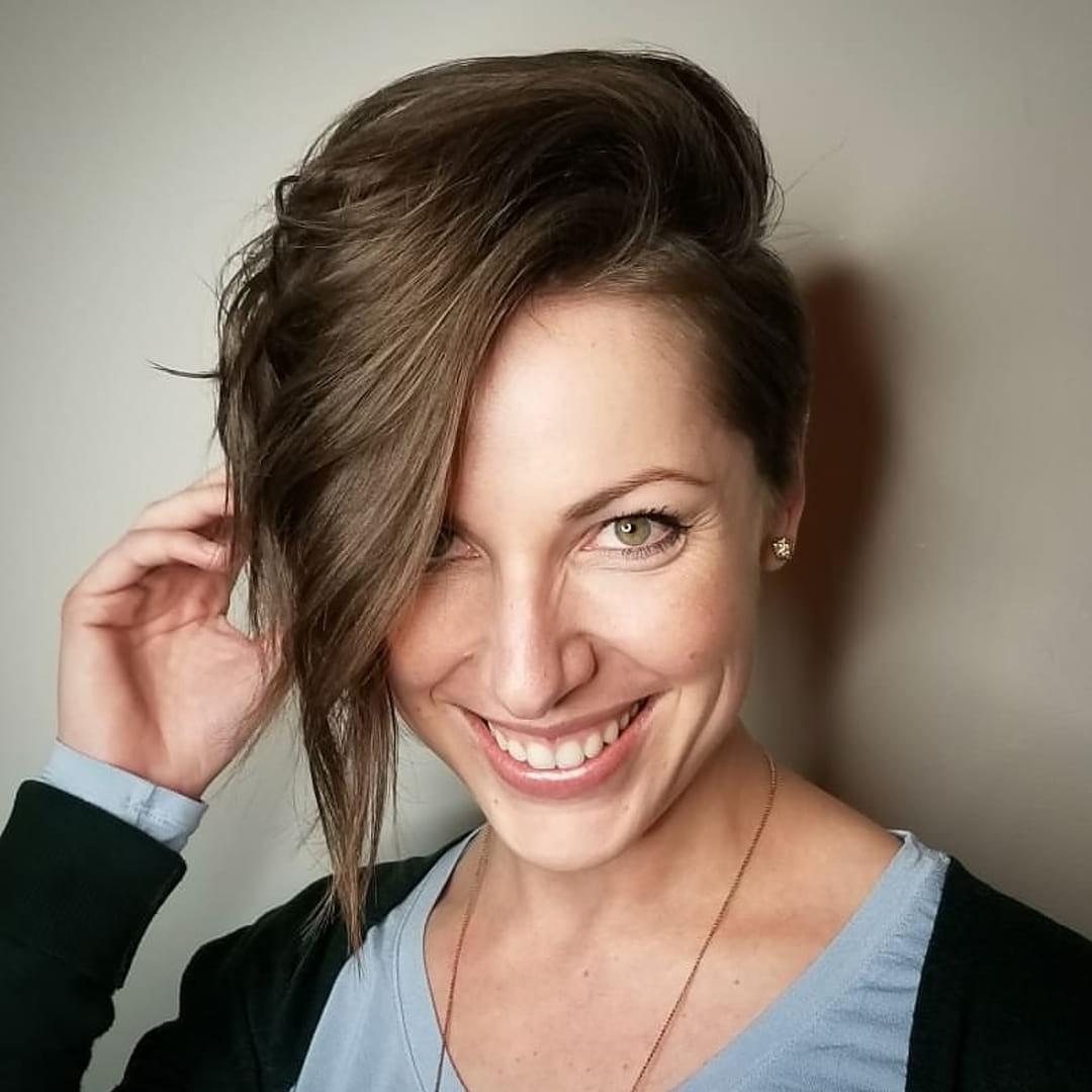 Long Side Swept Undercut Pixie with Messy Wavy Texture and Brown Hair Color Short Fall Hairstyle