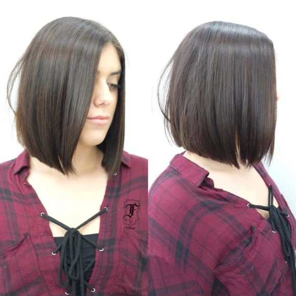 Long Sleek Bob with Brunette Color Medium Length Hairstyle