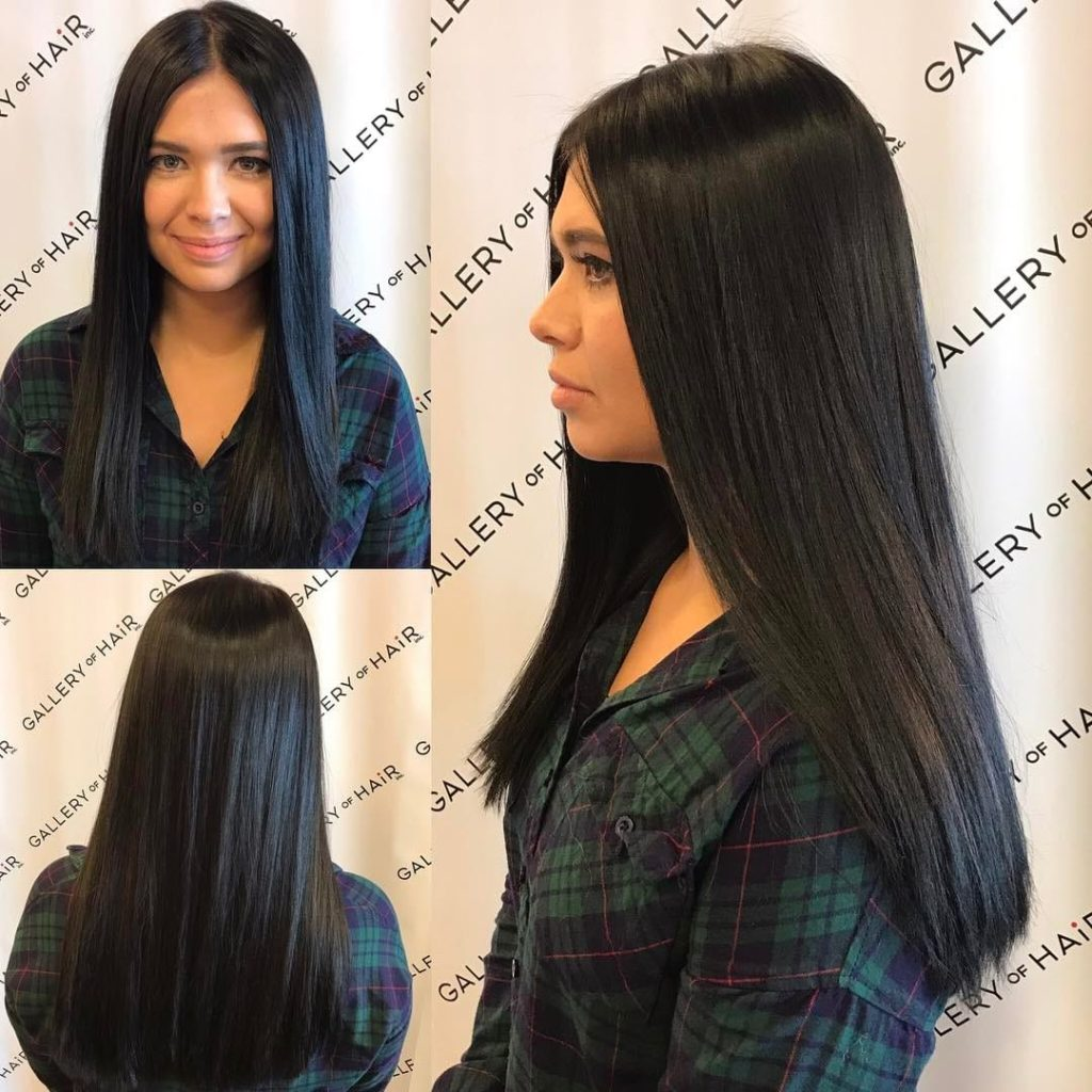 Long Sleek One Length Cut with Textured Ends and Black Color Long Hairstyle