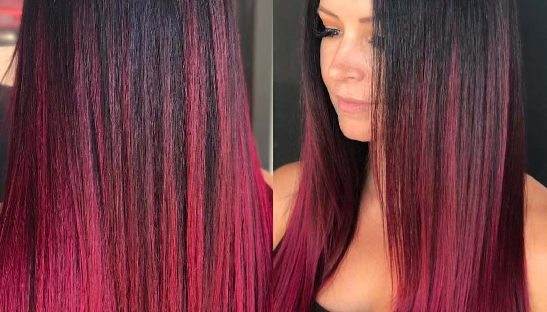 Long Sleek Ruby Magenta Ombre Colored Hair with Short Layers Long Hairstyle
