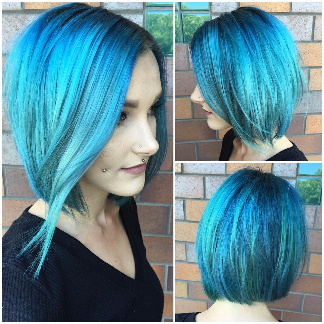 Long Slightly Angled Bob with Allover Aqua Blue Color Medium Length Hairstyle