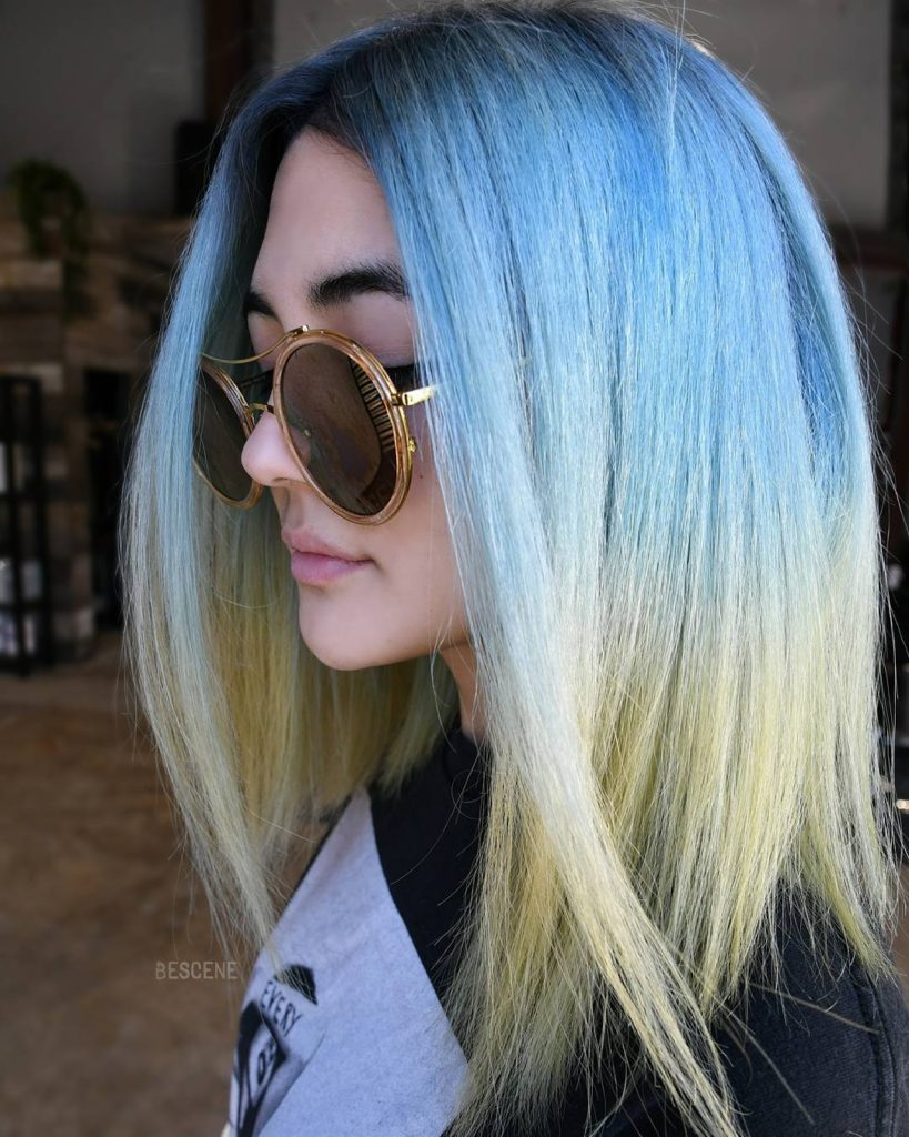 Long Slightly Angled Bob with Straight Texture and Tropical Blue to Yellow Ombre Medium Length Summer Hairstyle