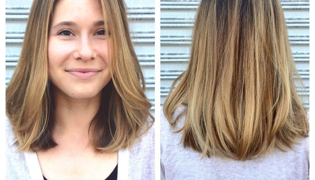 Long Soft Bob with Babylights Balayage and Blowout Long Hairstyle