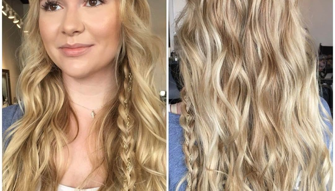 Long Textured Wavy Blonde Lengths with 3-Strand Braid Long Hairstyle