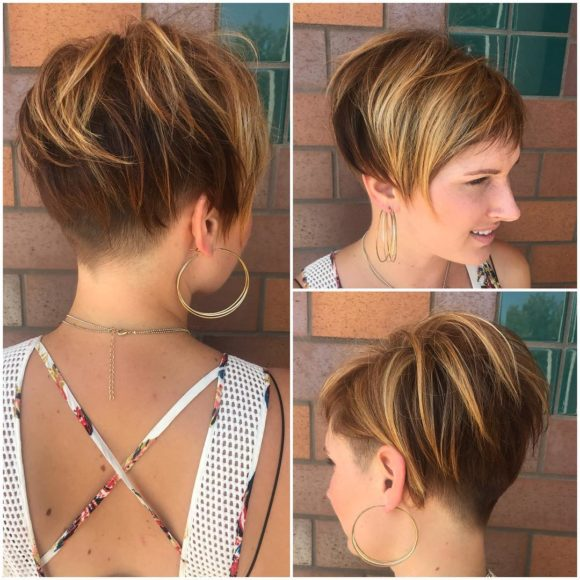 Messy Voluminous Brunette Undercut Pixie with Highlights Womens Short Hairstyles