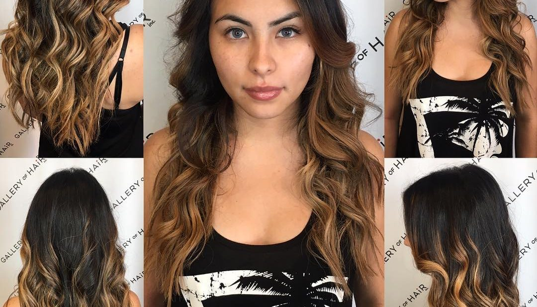 Long Wavy Textured Cut with Brunette Balayage Color Melt Long Hairstyle