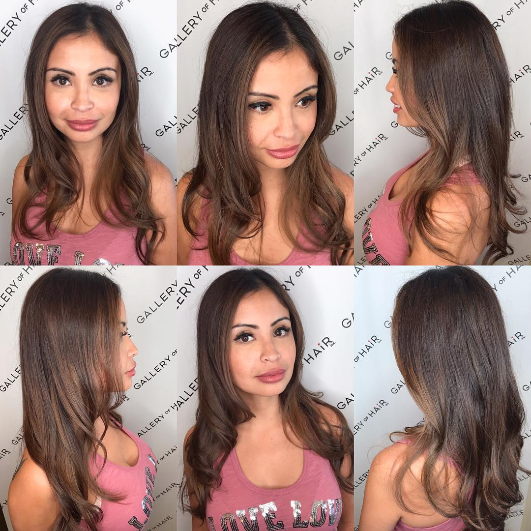 Longhair with Short Layers and Curls with Soft Brunette Balayage Long Hairstyle
