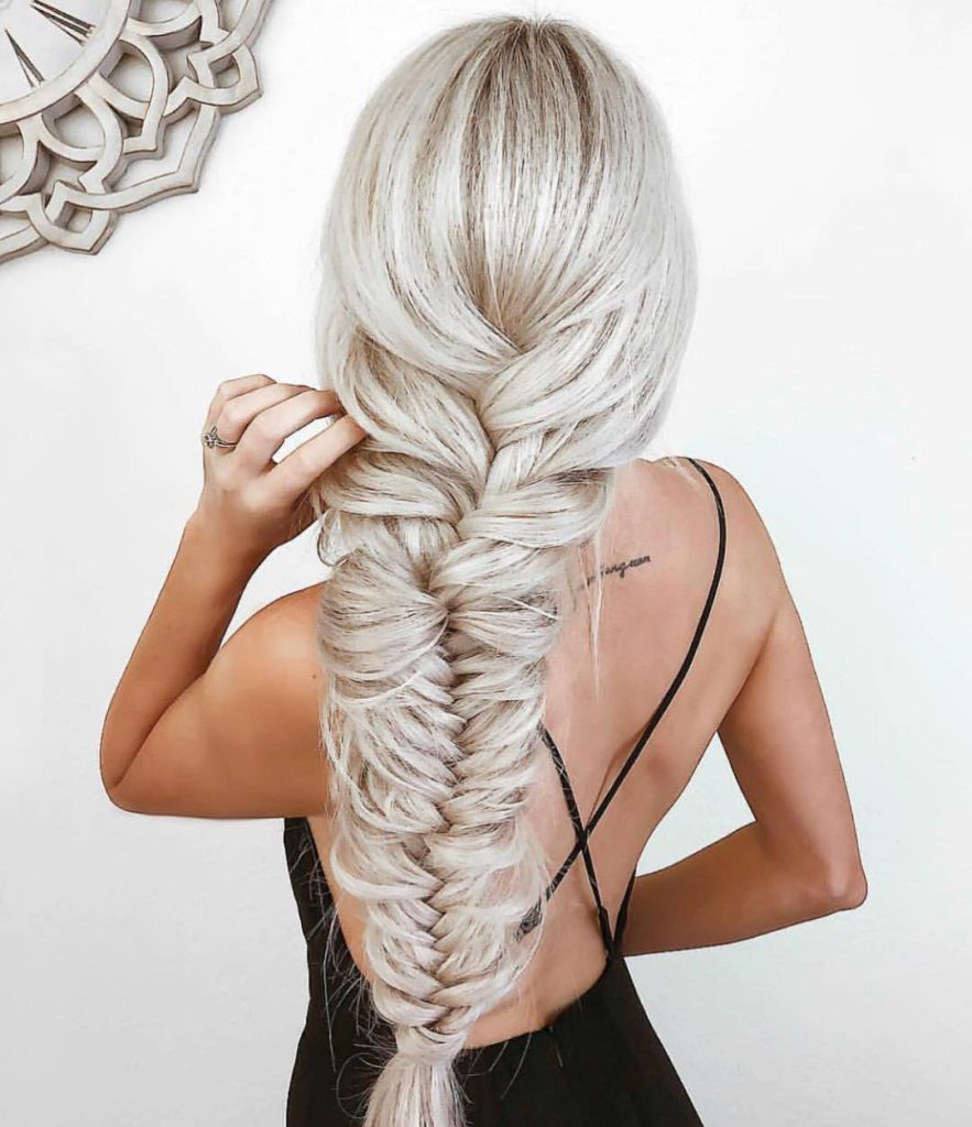 Loose Boho Chic Fishtail Braid on Long Platinum Blonde Hair Beach Braid Summer Updo Hairstyle