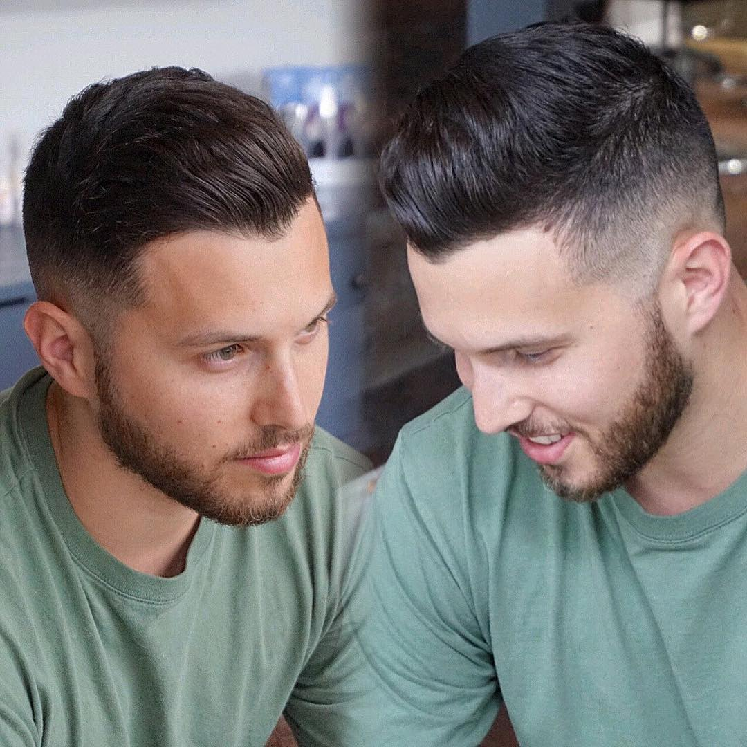 Mens Dark Brown Tapered Fade with Natural Wavy Texture and Beard Hairstyle