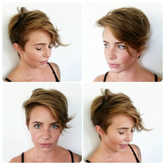 Messy Asymmetric Pixie with Long Side Swept Fringe and Dark Blonde Color Short Hairstyle
