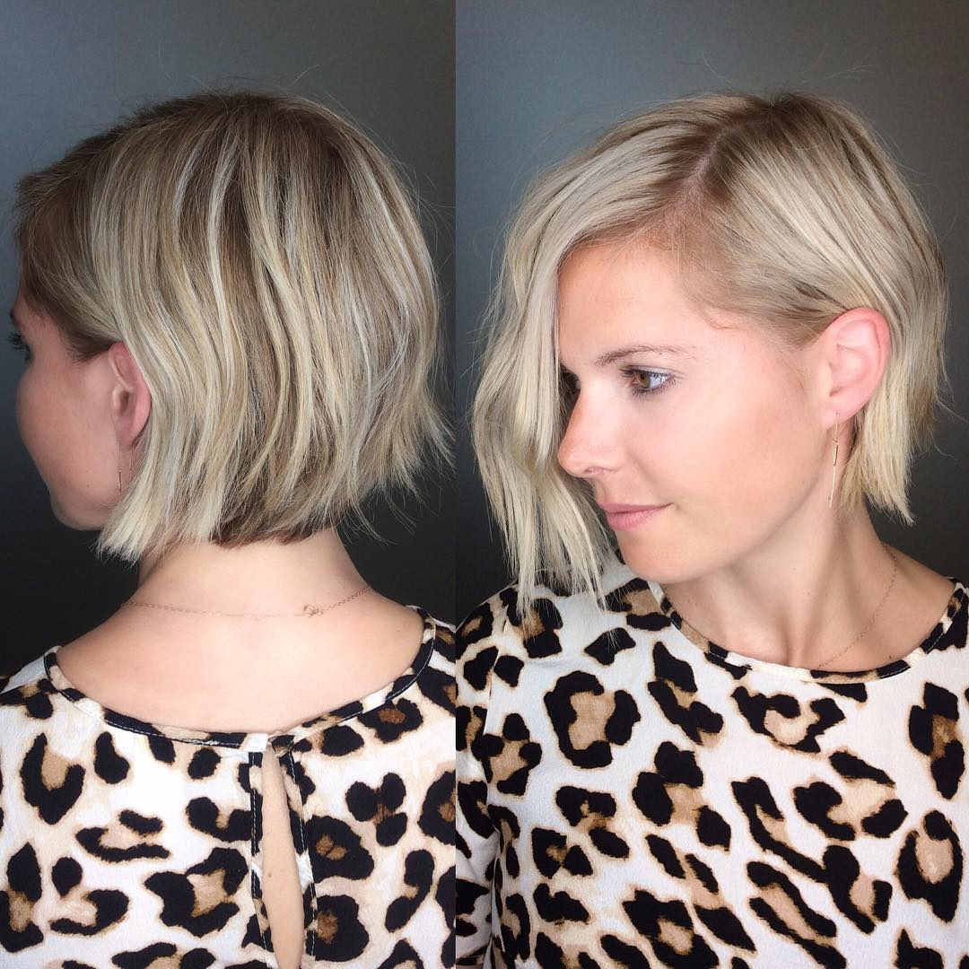 Messy Blonde Textured Layered Bob Short Hairstyle