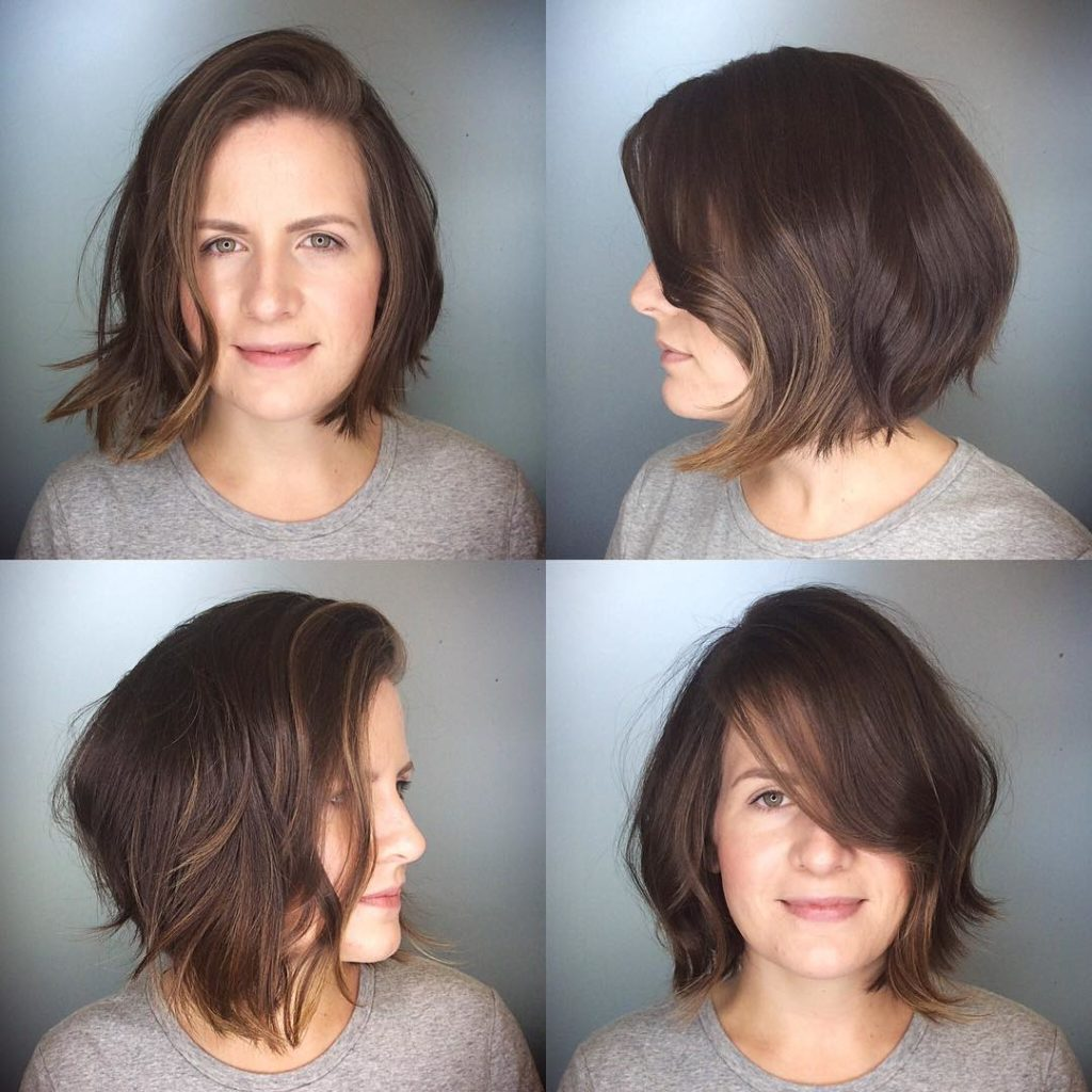 Messy Brunette Textured Bob with Side Swept Bangs and Soft Highlights Medium Length Hairstyle