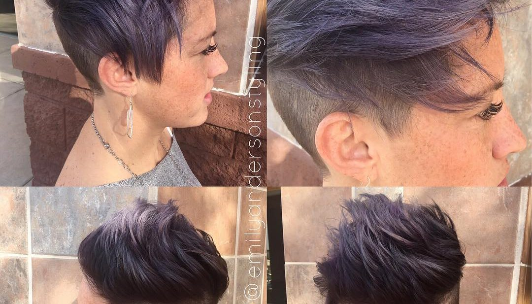 Messy Brushed Up Undercut with Smoky Violet Color Short Hairstyle