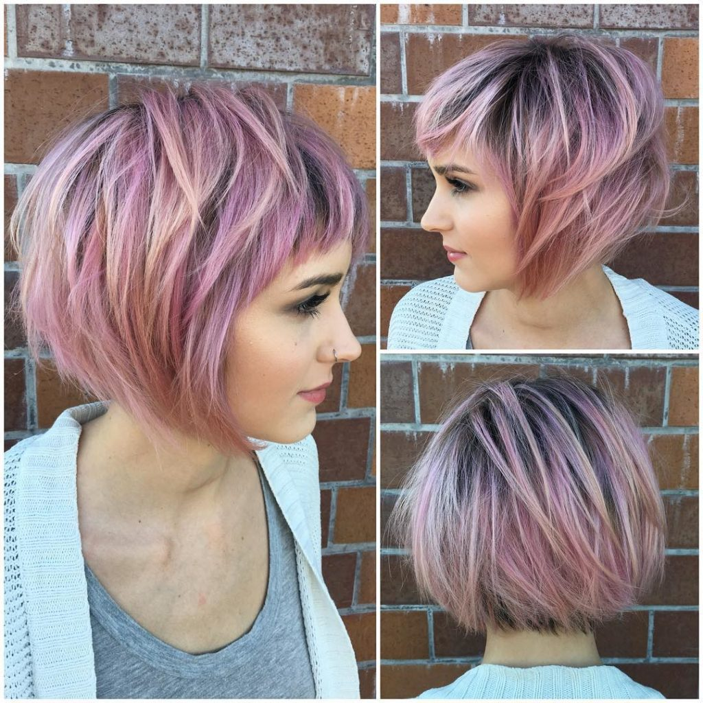 Messy Choppy Pink Highlighted Bob with Baby Bangs Short Hairstyle