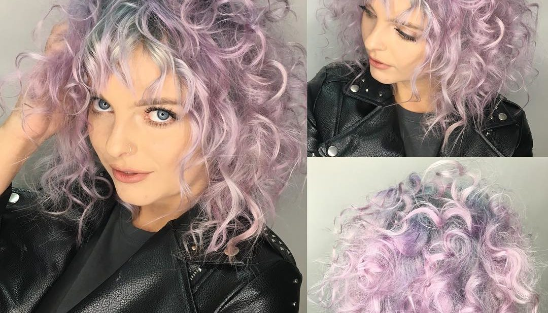 Messy Curly Shoulder Length Cut with Pink Color and Silver Shadow Roots Medium Length Hairstyle