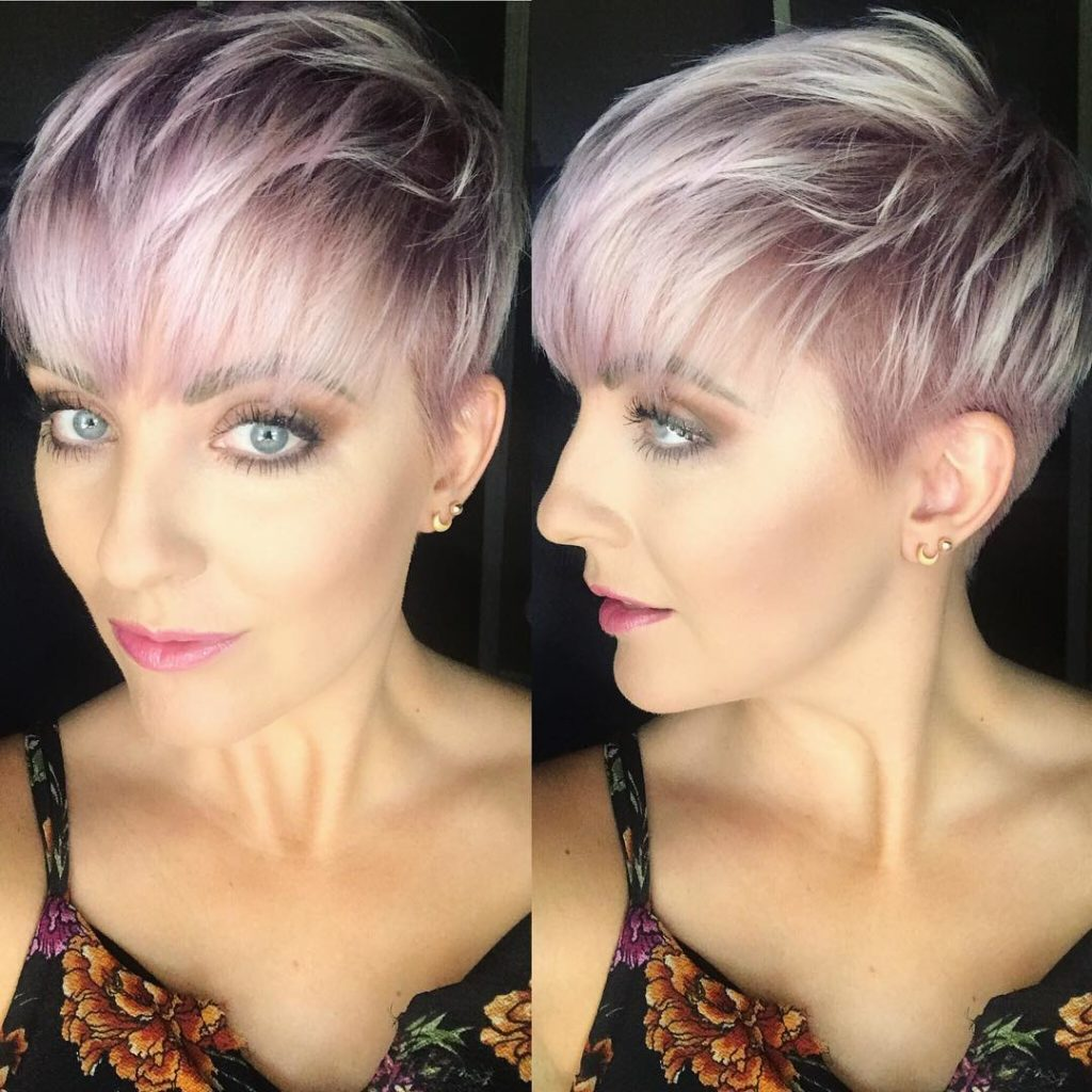 Messy Icy Pink Textured Pixie with Feathered Bangs Short Hairstyles