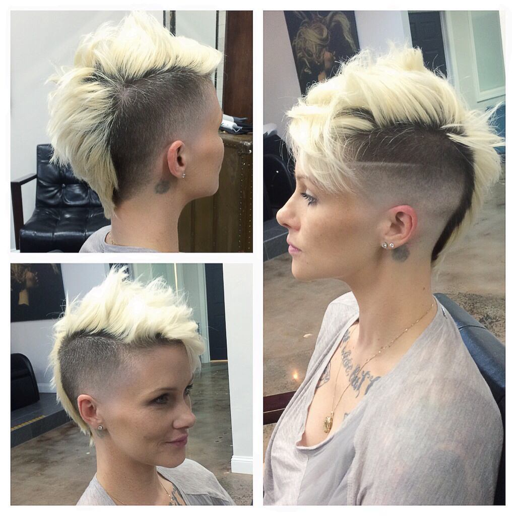 Messy Platinum Mohawk with Fade and Shaved Side Detail Short Hairstyle