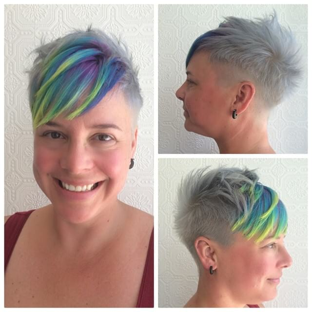 Messy Platinum Textured Pixie with Side Swept Rainbow Highlighted Bangs Short Hairstyle