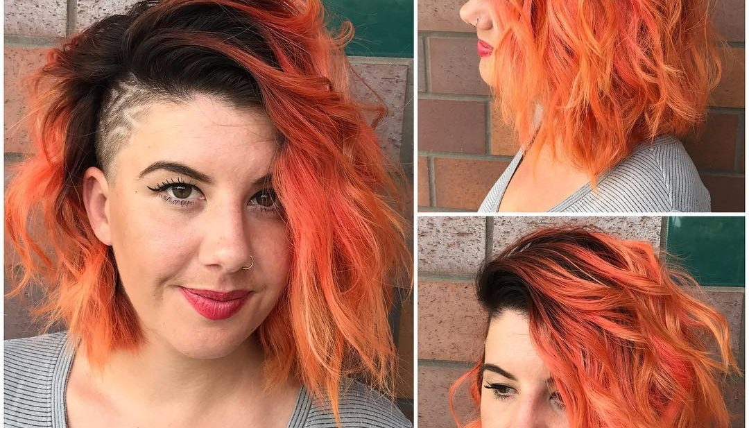Messy Side Swept Wavy Bob with Orange Ombre Color and Shaved Side Medium Length Hairstyle