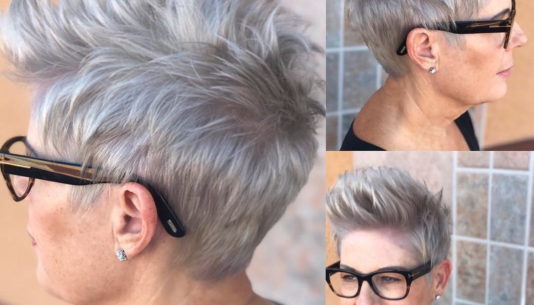 Messy Silver Brushed-Up Textured Pixie Crop Short Hairstyle