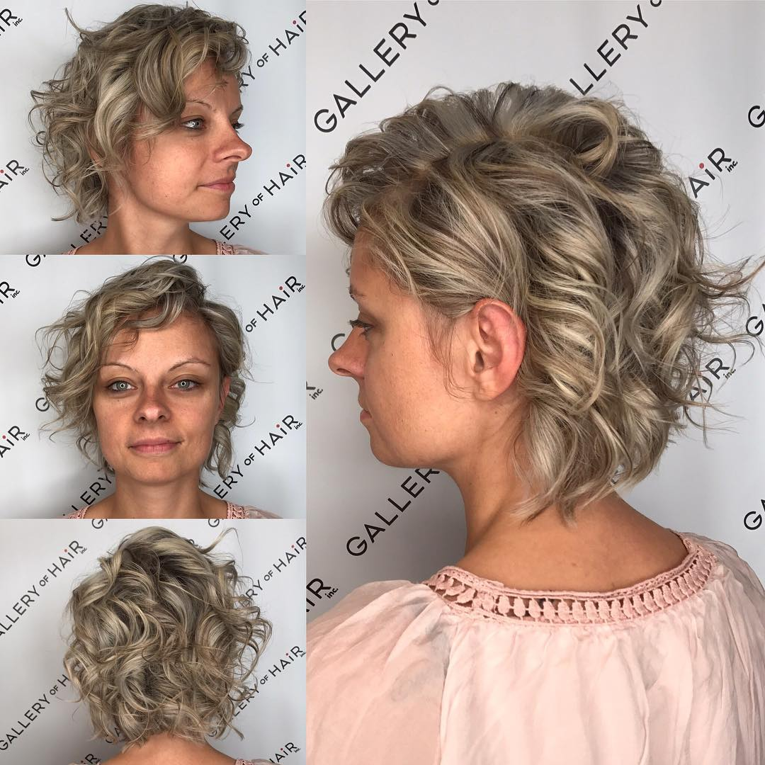 Messy Wavy Blonde Bob with Ash Lowlights Short Hairstyle