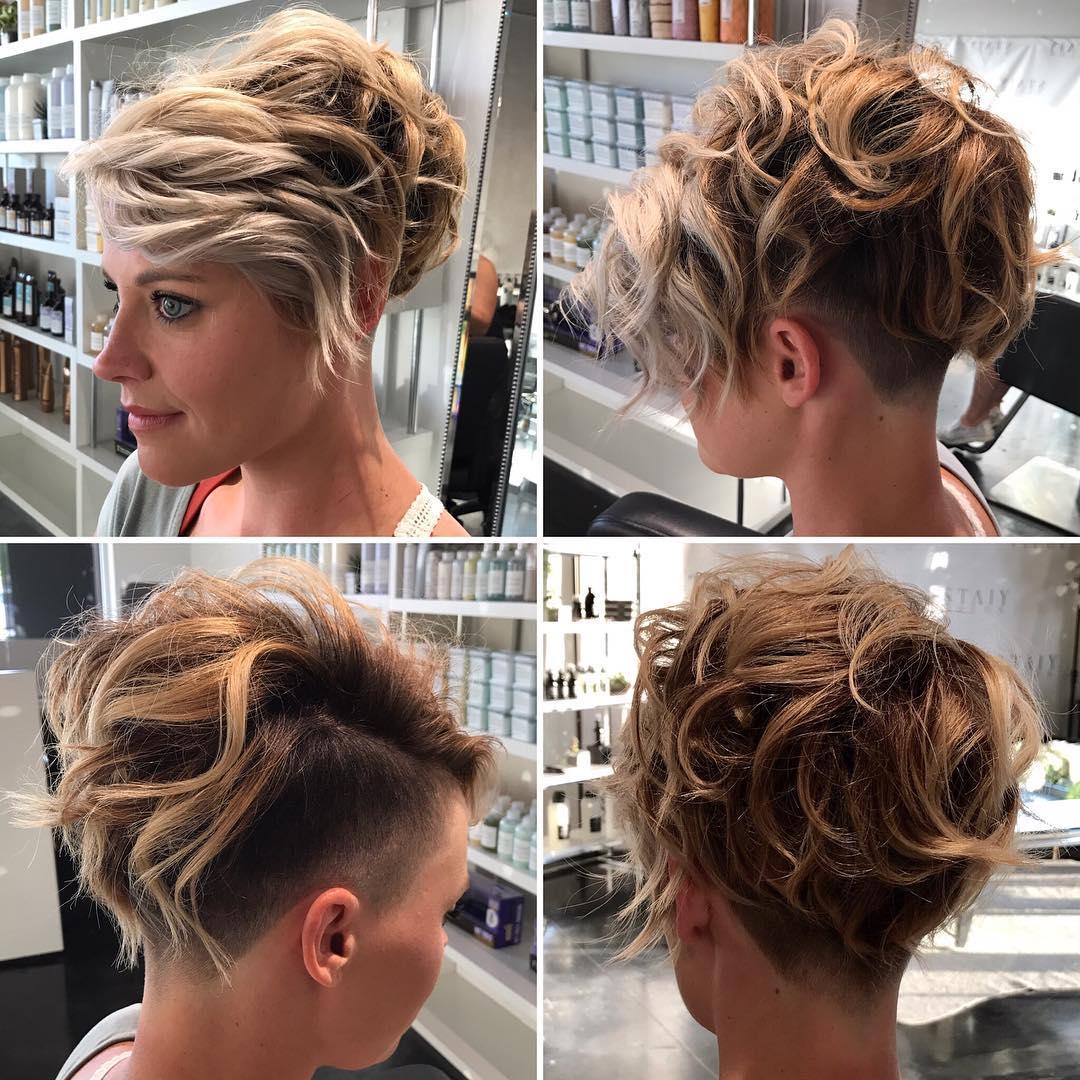 Messy Wavy Textured Blonde Undercut Pixie Short Hairstyle