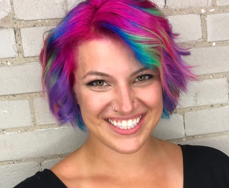 Messy Wavy Textured Bob with Side Swept Bangs and Rainbow Hand Painted Color Medium Length Eccentric Unicorn Hairstyle